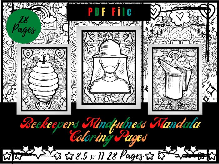 Beekeepers Mindfulness Mandala Colouring Pages, Honey Farmers Printable PDF