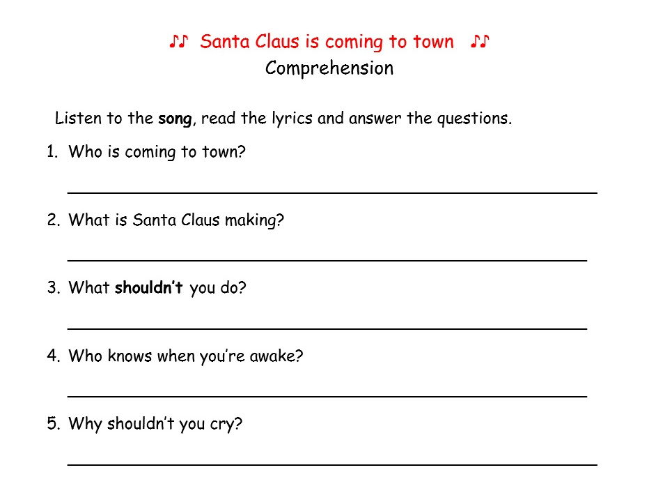 Santa Claus is coming to town. song, comprehension