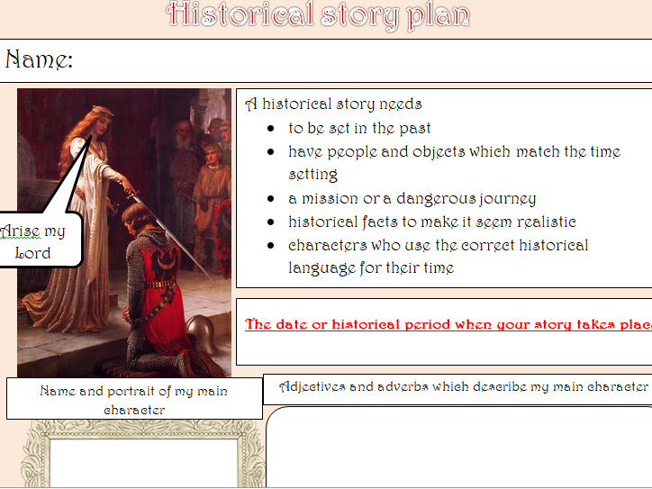 KS1 & 2 Historical story planning template