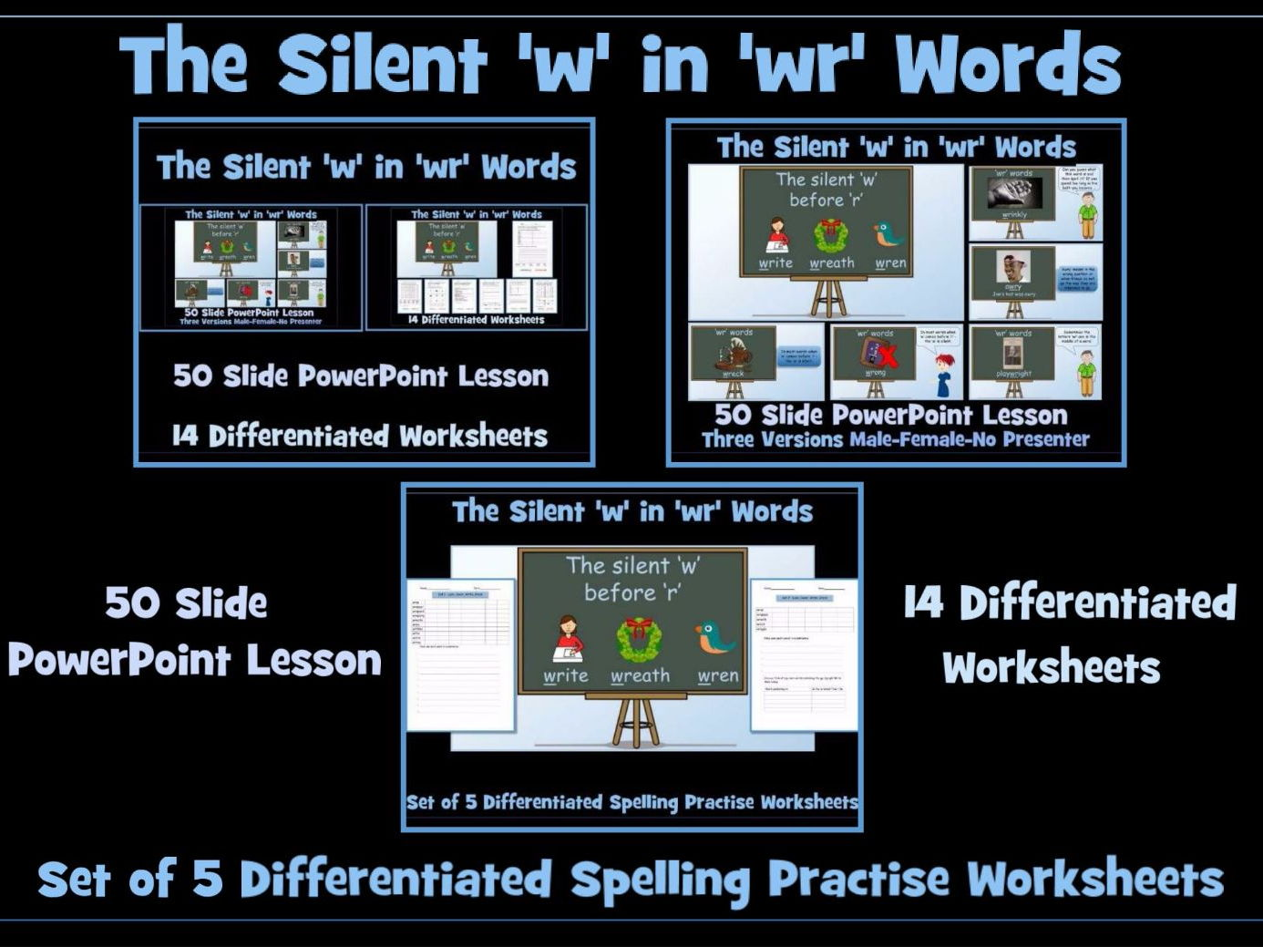 50 Slide PowerPoint Lesson - The Silent 'w' in 'wr' Words by ...