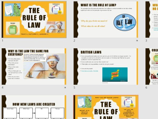 The Rule of Law - Year 6 PSHE 2020 curriculum