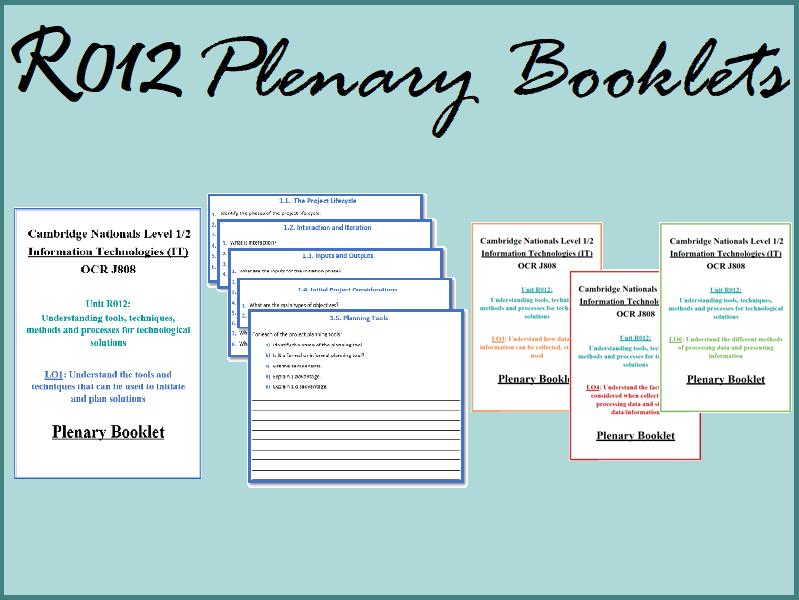 R012 Plenary/Revision/Assessment Booklet