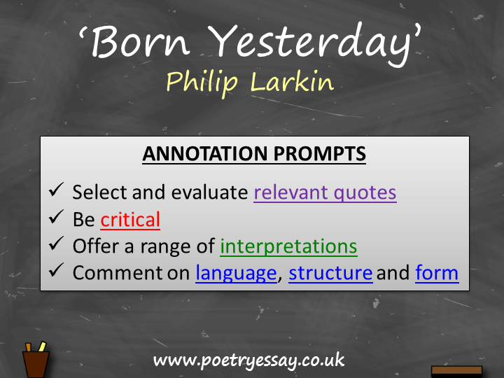 Philip Larkin – 'Born Yesterday' – Annotation / Planning Table / Questions / Booklet