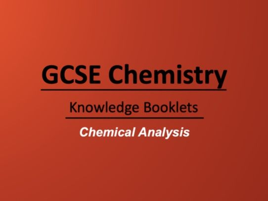 Chemical Analysis Knowledge Booklet