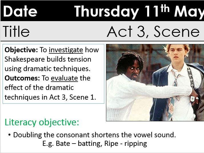 Romeo and Juliet KS3 GCSE Act 3 Scene 1 exploring tension Mercutio's death