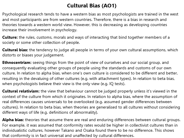Cultural Bias Revision (A2 Psychology)