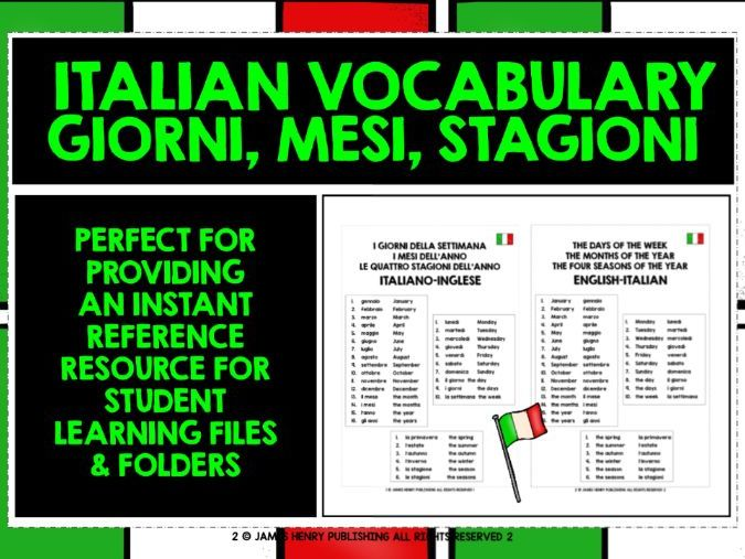 ITALIAN DAYS MONTHS SEASONS REFERENCE LIST