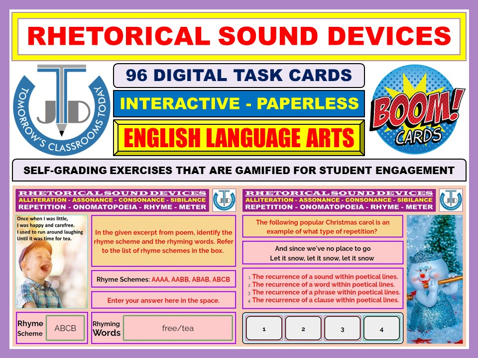 SOUND DEVICES - ALLITERATION, ONOMATOPOEIA, REPETITION, RHYME, METER: BOOM CARDS