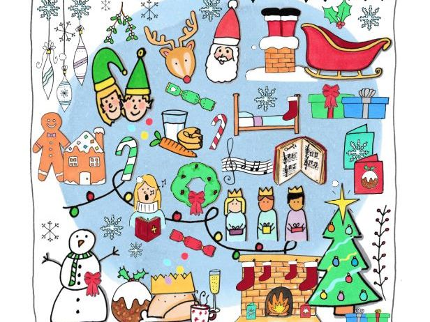 Hand drawn Christmas doodle clip art