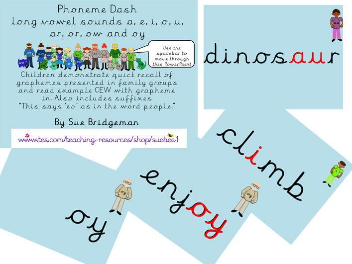 Phoneme dash 5 long vowel sounds a, e, i, o, u, ar, or, ow and oy