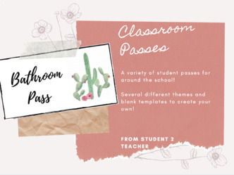 Student School & Classroom Passes | 6 Different Themes & Blank Templates!