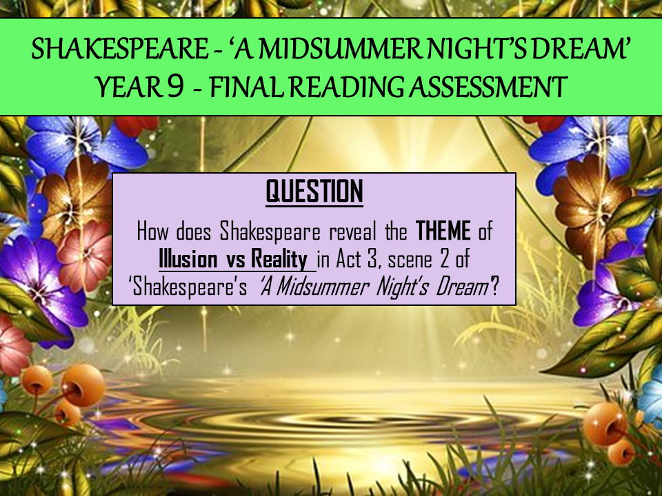 'A Midsummer Night's Dream' - KS3 Reading Assessment based on the Theme of Illusion vs Reality