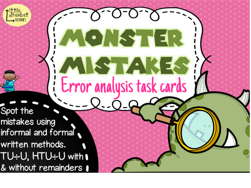 Error Analysis / Spot the Mistake Task Cards for Written Division Methods Yr 3 & 4
