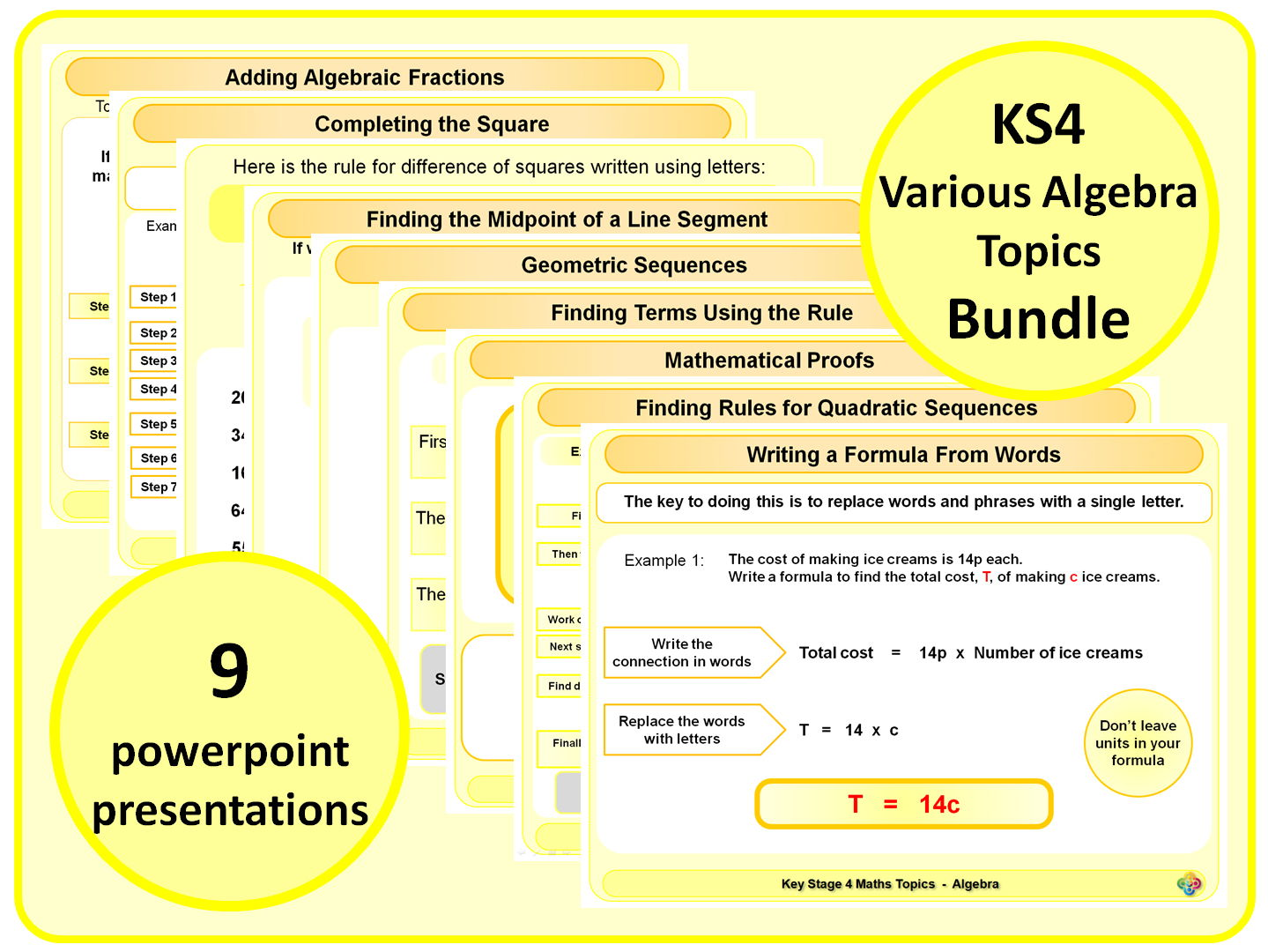 KS4 Various Algebra Topics