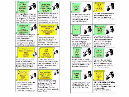 SPANISH GCSE New Specification - Role play cards with scenarios