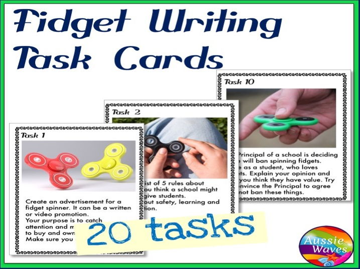 WRITING PROMPTS Task Cards FIDGET IMAGES to Stimulate ideas Writing Varied Genre
