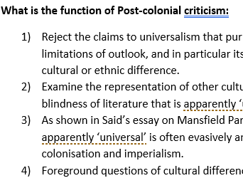 Introduction to Post-Colonial criticism