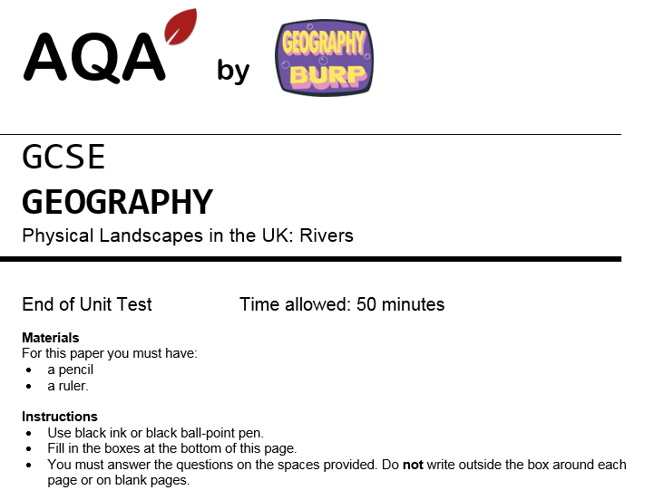 AQA GCSE Geography (9-1) - Practice Exam Paper - Rivers - River Landscapes in the UK