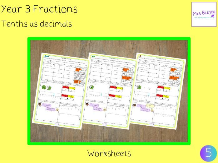 Tenths as decimals lesson (Year 3 Fractions)
