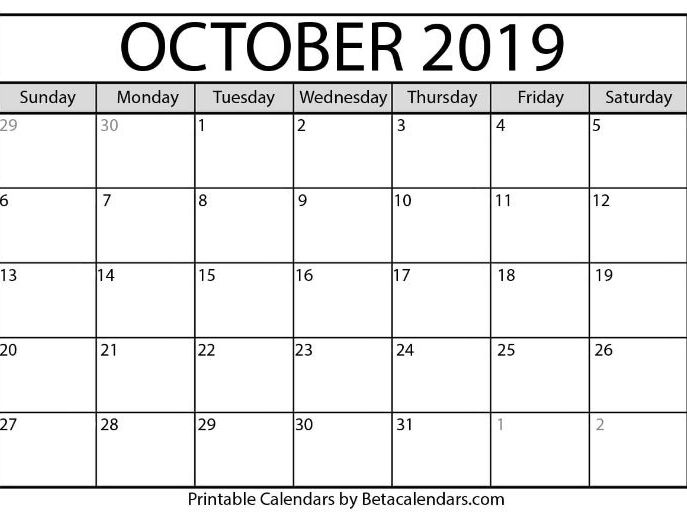 graphic about October Calendar Printable identified as Blank Oct 2019 Calendar Printable by means of betacalendars