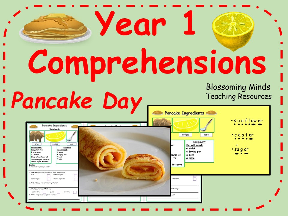 Year 1 comprehensions - Pancake Day (Shrove Tuesday)