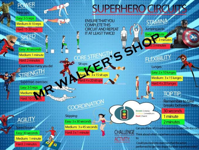 Superhero Themed Circuit Training Card (Can be a stay at home card also)