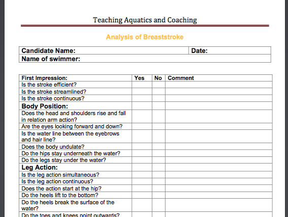 an analysis of the swimming technique breaststroke Ames posted a video of her backstroke on the ti discussion forum and asked for  comment  spirit to become a more complete swimmer by practicing backstroke   note: when analyzing stroke technique, always review.