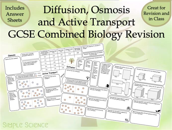 Diffusion, Osmosis and Active Transport Revision Mats - AQA Combined Biology GCSE