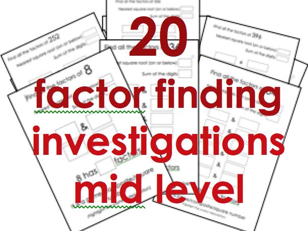 Factors: next 20 short investigations for KS2