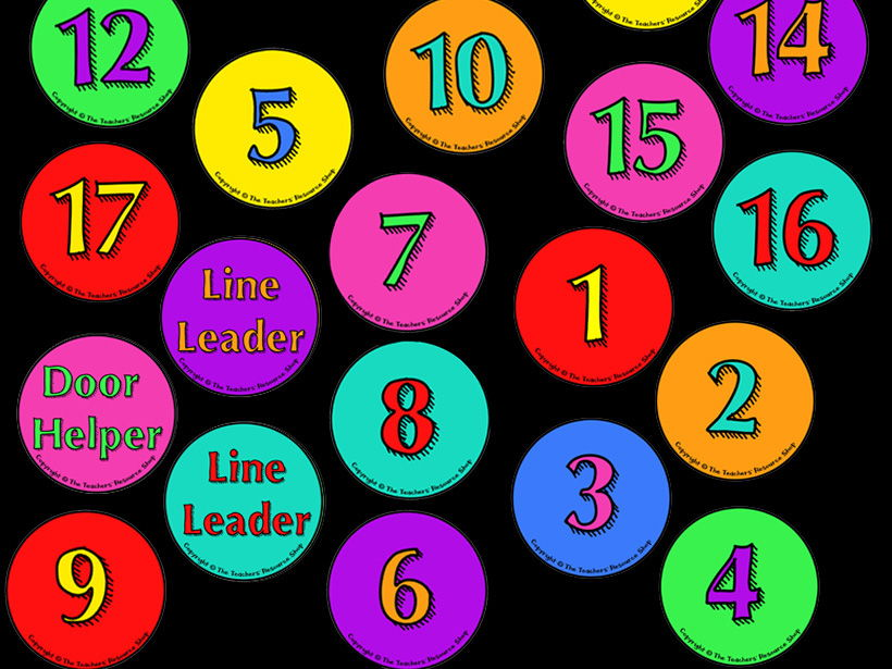 Circle Line up Cards 1-30 with Line leader and Door Helper