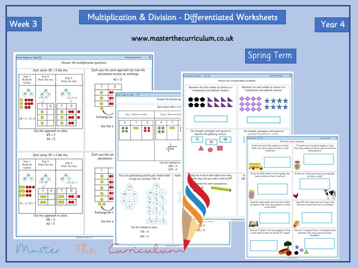 Year 4 – Spring Block 1 – Week 3 – Multiplication Differentiated Sheets- White Rose Style