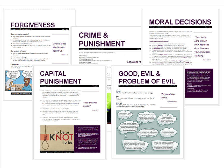 WJEC Eduqas Issues of Good and Evil Exam Booklets Bundle