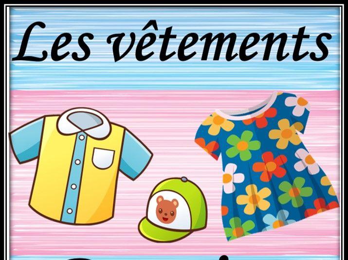 Clothes in French. Dominoes. Les vêtements. Jeu de domino.