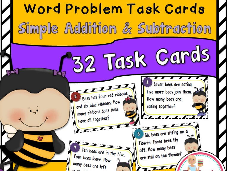 Bee Word Problem Task Cards Using Simple Addition and Subtraction