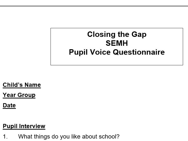 Closing the Gap - Pupil Voice Questionnaire
