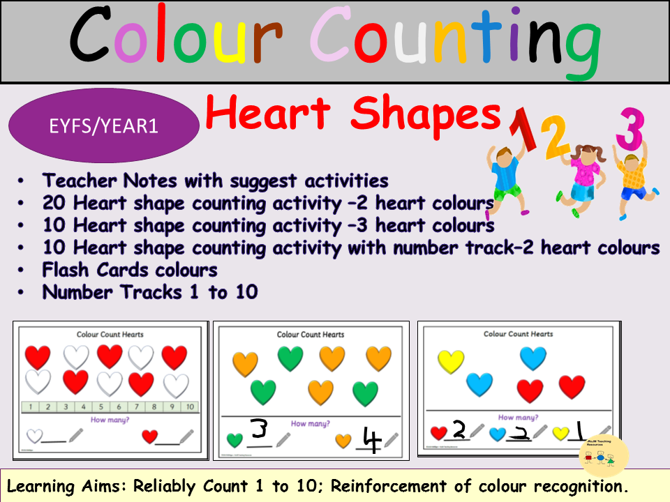 Colour Counting Heart Shapes 1-10, 40 Task Cards Activity/Colour Recognition, Flash Cards EYFS/KS1