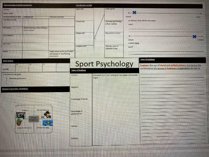 GCSE PE Sport Psychology Knowledge Organiser