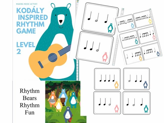 Kodaly Inspired Rhythm PowerPoint Game and printable rhythm cards music theory and aural game