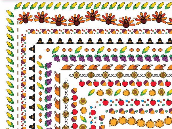 15 Thanksgiving Borders and Frames, Doodle Borders, Doodle Frames