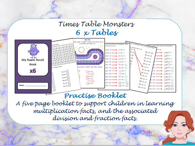 6 x Tables Practise Booklet