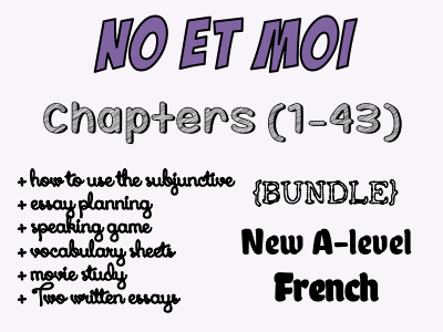 No et moi - BOOK STUDY - Etude des chapitres 1 à 43 - Worth more than £59!! *More than £24 of OFFERED resources*
