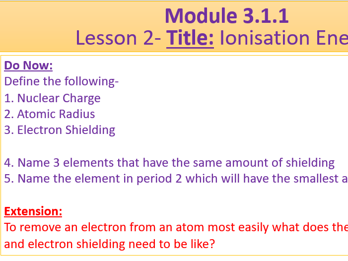A Level Chemistry OCR A Module 3.1.1- Lesson 2- Ionisation Energy
