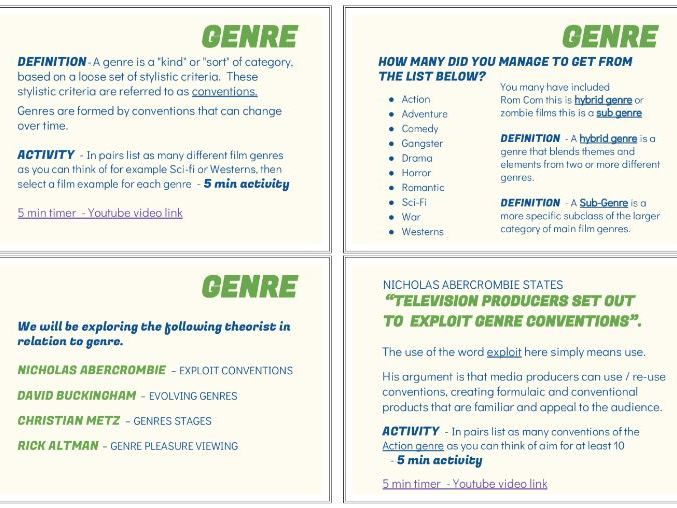 An introduction to Genre; Definitions, Terminology & theorists PP- teachers notes & student handout
