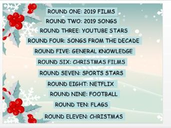 2019 General Knowledge Christmas Quiz. End of term!