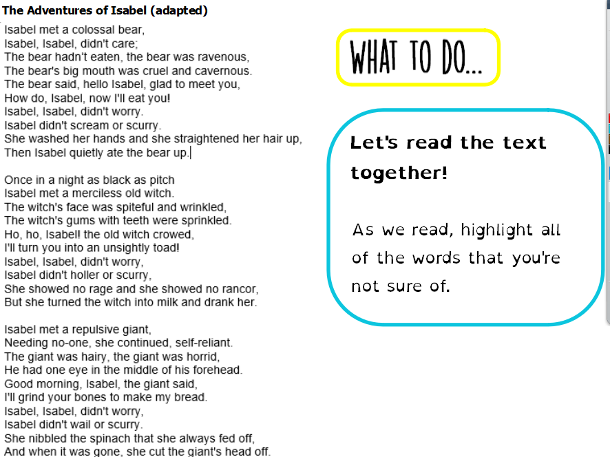 Year 5 - Whole Class Reading - Silly Poem - Vocabulary focus
