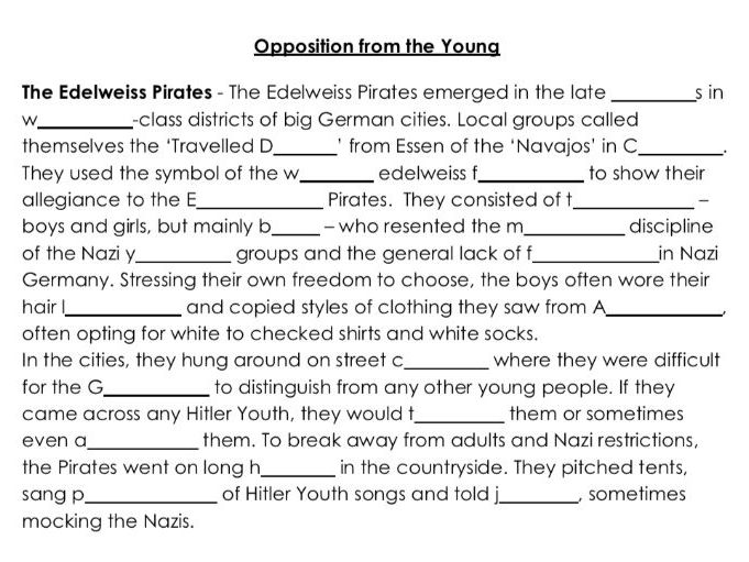 Opposition to the Nazis from the Youth Word Gap