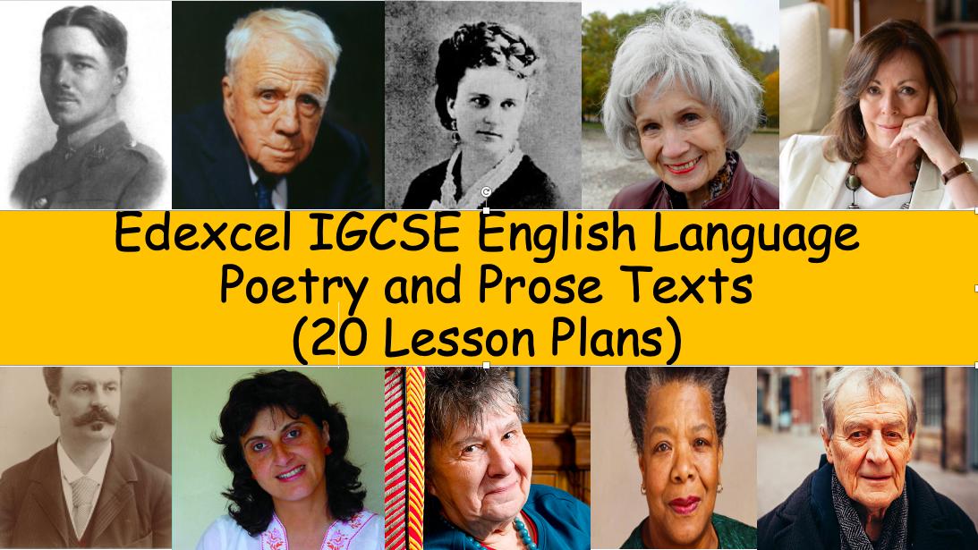 Edexcel IGCSE English Language Poetry & Prose Texts (20 Lesson Plans)