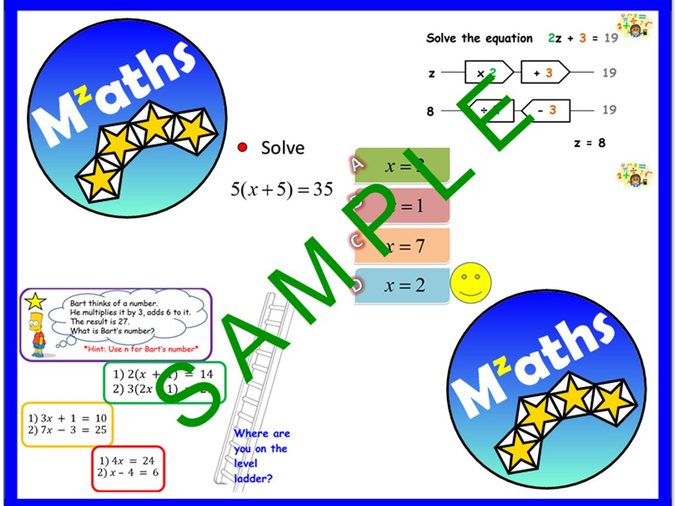Solving Equations - One, Two, Three Step/Function Machines/Problem Solving