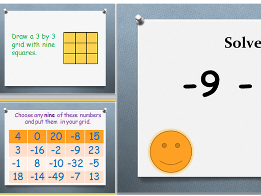 Negative Numbers Bingo Game - adding and subtracting with negative numbers.