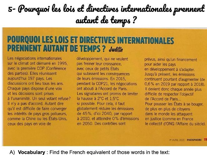 Environment Reading: 5- Pourquoi les lois et directives internationales prennent autant de temps ?